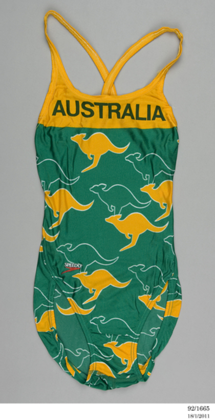 92/1665 Swimsuit, women's, 1986 Edinburgh Commonwealth Games, Australian Team, nylon/lycra, Speedo, Australia, 1986