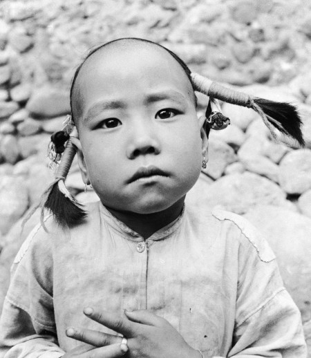 Photograph of young girl, gelatin silver, by Hedda Morrison (1908-1991), China, 1930-1945