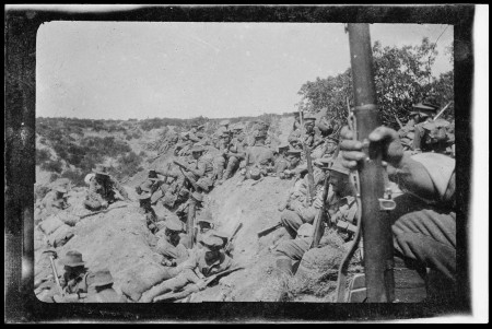 WWI soldiers in trenches, location unknown, property of Charles Laseron, 1914-15, MAAS collection