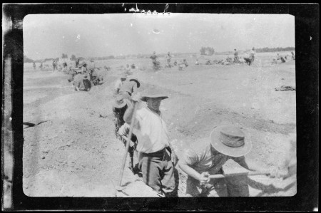 WWI soldiers digging trenches in sand, location unknown, 1914-15, property of Charles Laseron, MAAS collection