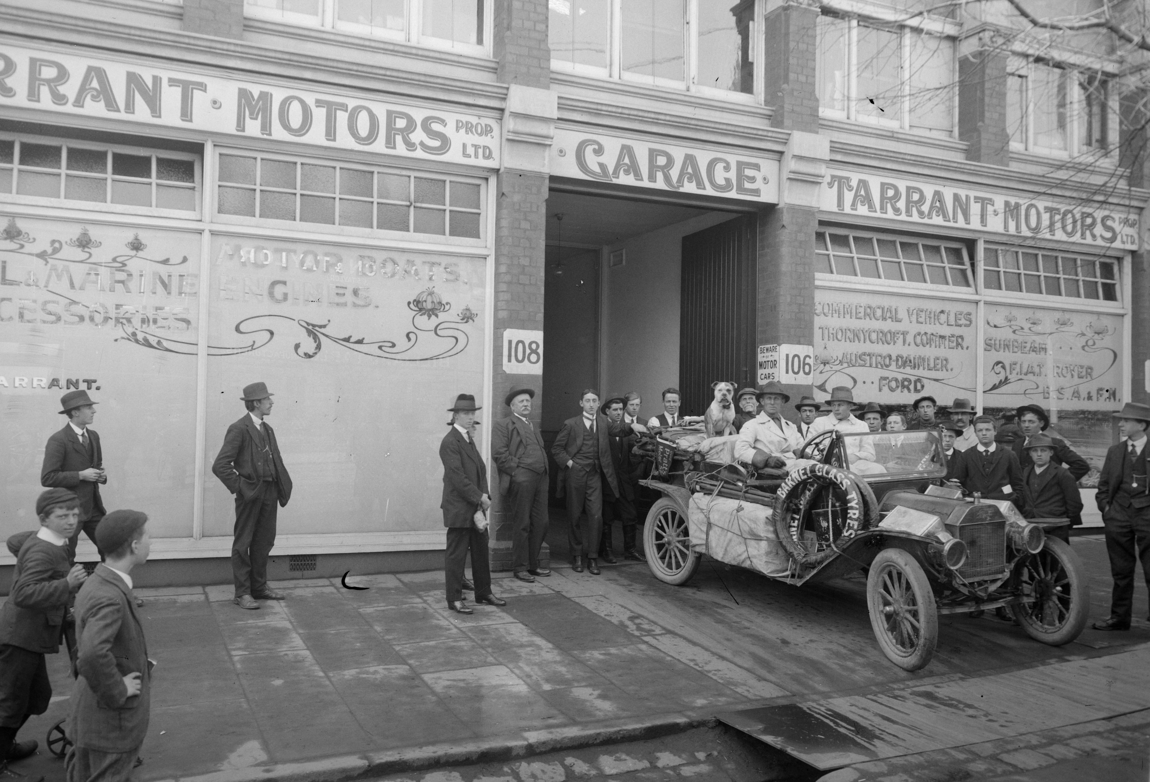 Francis Birtles And His Dog In Model T Outside Tarrant Motors Victoria Around 1910