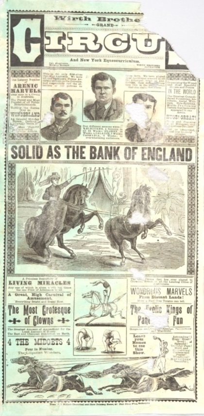 Poster, 'Wirth Brothers Grand Circus and New York Equescurriculum', printed in Melbourne, late 1880s. Gift of the Wirth family, 2012.