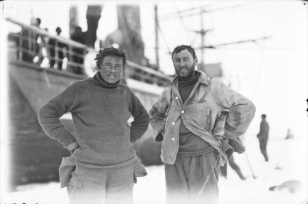 Percy Correll & Charles Laseron, taken on floe ice at the Western Base, photograph by Frank Hurley, Cape Denison (Antarctica), 1911-14, State Library of NSW collection