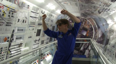 MAAS staff member Jim Fishwick breaks out some moves in the Museum's zero gravity lab space.