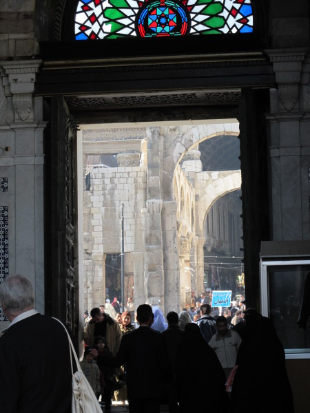 View through door of the Umayyad Mosque, Damascus, Old City, 2010, photographer Paul Donnelly