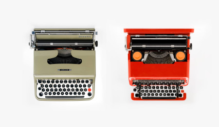 Olivetti lettera 22 (left), designed by Marcello Nizzoli, 1950, MAAS collection, 2013/118/1 and Olivetti Valentine (right), Ettore Sottsass, 1969, Italy, MAAS collection, 2003/13/1