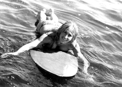 Photo of Tanya Binning off Bondi Beach from the 'Made in Australia' book, 1969, David Mist archive, MAAS collection
