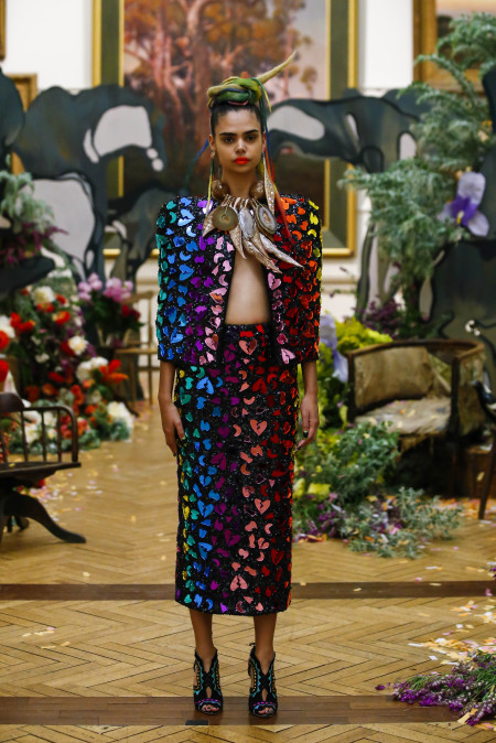 Model wearing 'Rainbow Reflections of Oz,' Cooee Couture, made and designed by Romance Was Born, Sydney, 2015