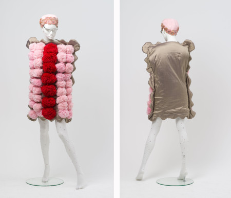 Front and back views of of 'Iced Vo Vo' dress and shoes, designed and made by Luke Sales and Anna Plunkett of Romance Was Born, Sydney, 2009, MAAS collection, 2010/20/1