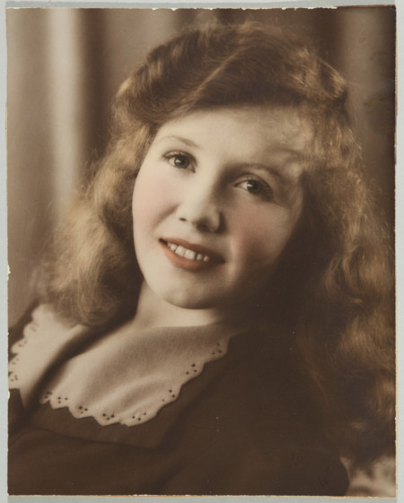 Handcoloured photograph of Shirley Martin taken by Hector Brown, Sydney, c.1945, MAAS collection, 2002/88/1-4/1