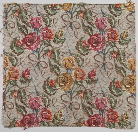 'Roses' furnishing fabric designed by Shirley de Vocht for Coverings & Co, Sydney, 1950, MAAS collection, 2002/88/6