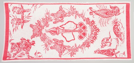 Olympic Games towel designed by Shirley de Vocht for Dri-Glo Towels, Sydney, 1956, MAAS collection, 2002/88/8