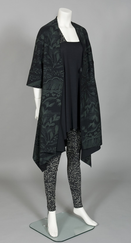 'Waterfall Gardens' coat, 'Alfalfa' tunic dress and 'Alfalfa' leggings, designed and made by Akira Isogawa, Sydney, 2007, MAAS collection