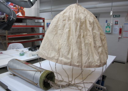 Photo of the parachute fully supported and ready for display