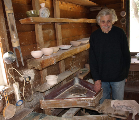 Peter Rushforth in his studio in 2014, photograph courtesy of Grace Cochrane