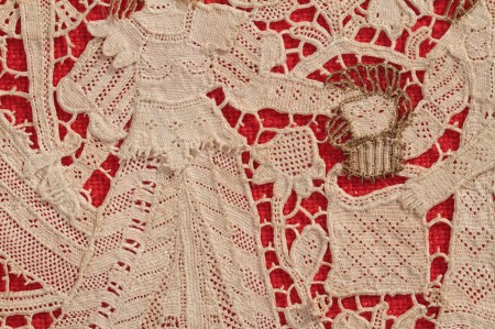 Detail of Lace panel showing the story of Judith and Holofernes