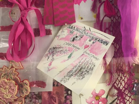 Stewart's illustrated gift card on display in Collette's inspiration room