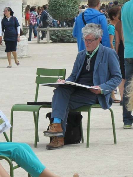 Stewart sketching in the Jardin du Tuileries