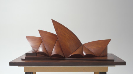 Wooden wind tunnel architectural model of the Sydney Opera House