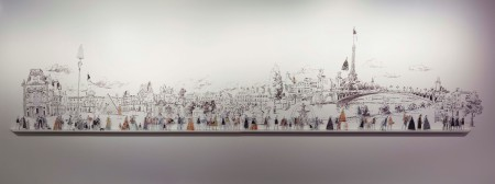 Panorama shot of Stewart's Parisian landscape illustrations