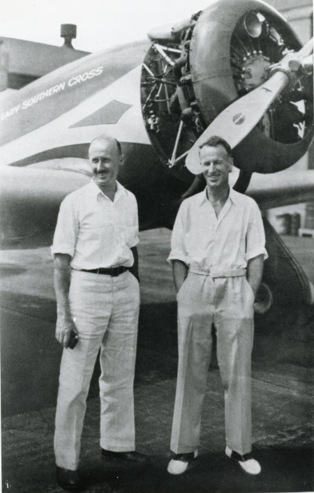 Sir Charles Kingsford Smith and Captain P.G. Taylor in front of Lady Southern Cross