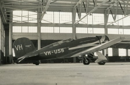 Lady Southern Cross in a hanger in Oakland, California, 1934
