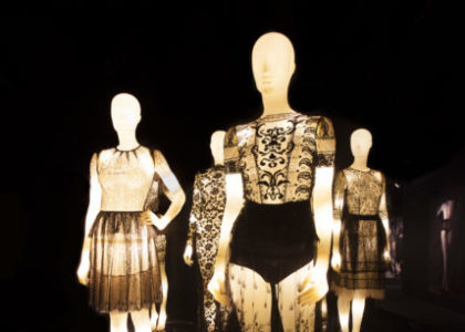 Collette Dinnigan: unlaced, exhibition views: illuminated mannequins.