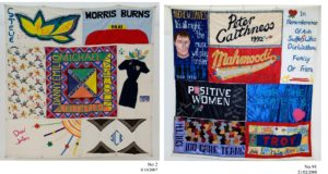 Quilt, Australian AIDS Memorial Quilt, remembering Steve, Morris Burns, Gordon, Michael, Maisie, Colin, Peter, Eddy, Danny, Emilio, Ian 'Tracey Lee' Turner, David Waters and JCB; Mahmoodi, Positive Women, Familes of the South Support Group and Troy Lovegrove.