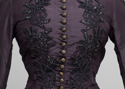 Bodice of Janet McDonald's purple wedding gown