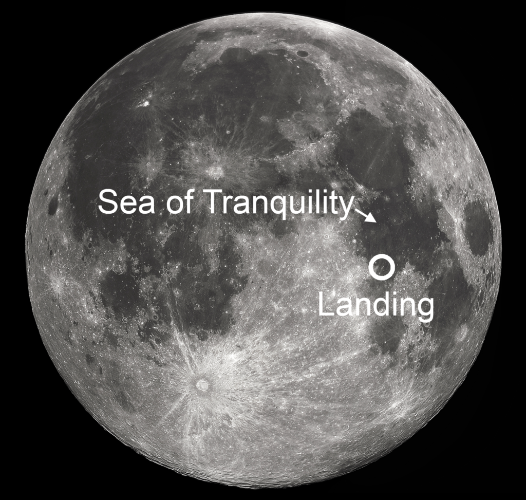 Image showing location of Apollo 11 landing site