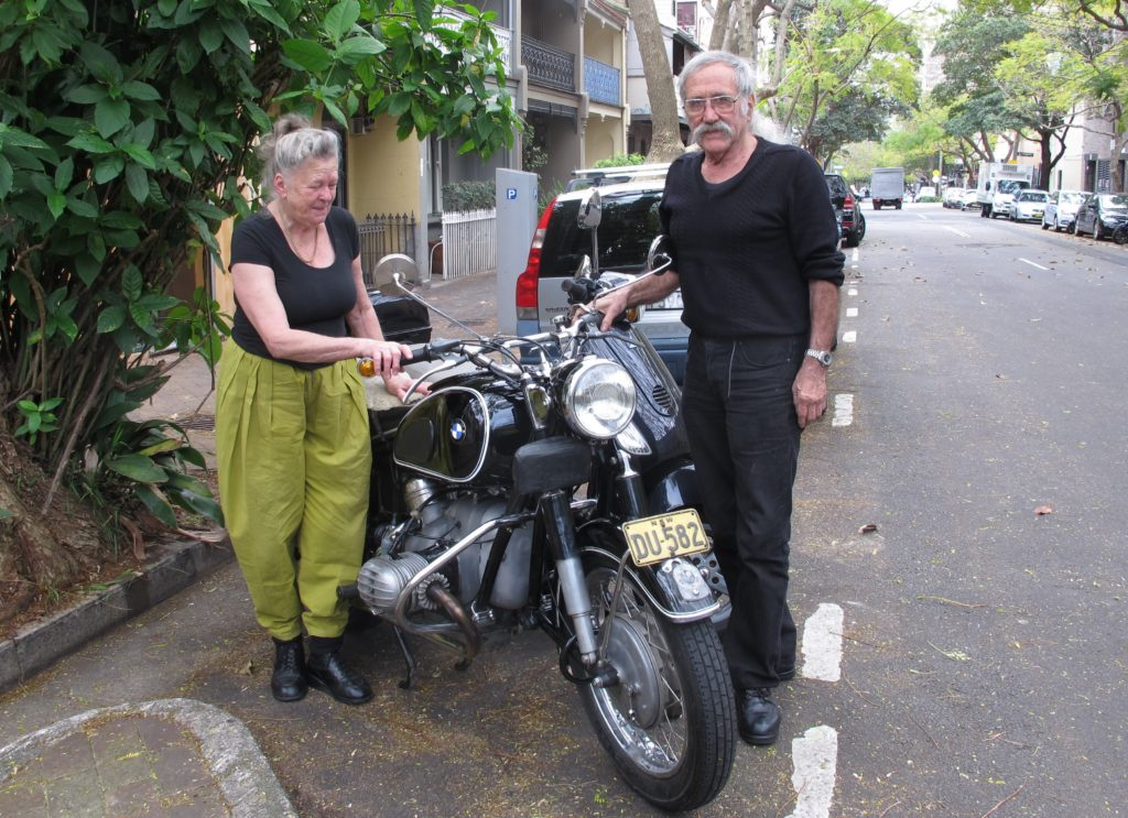 Charis and George with their motorcycle in 2016