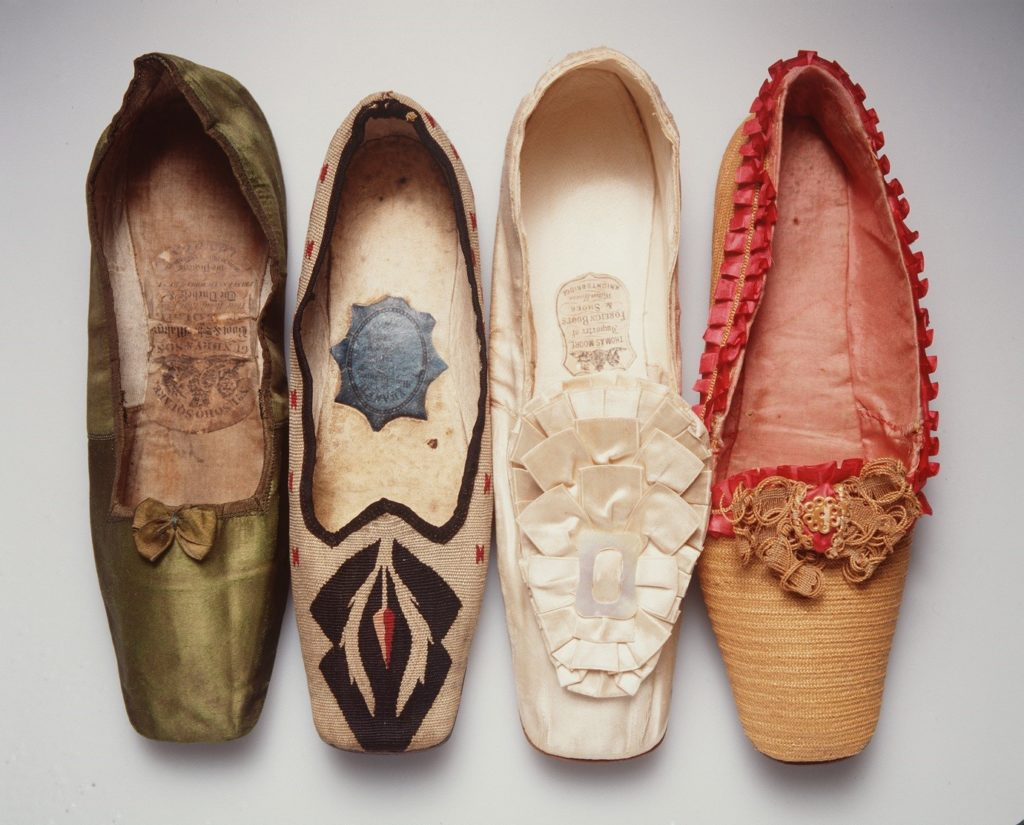 Shoes made in Europe during the 1830s-1860s
