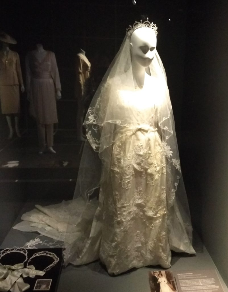 Photograph, Stamatoula Pavlakis' wedding dress, veil, tiara and stefana