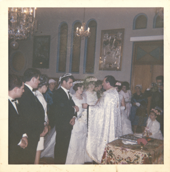 Photograph, Stamatoula Raissis and George Pavlakis wearing stefana during their wedding service