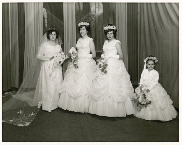 Photograph, Stamatoula with her bridesmaids and flower girl.
