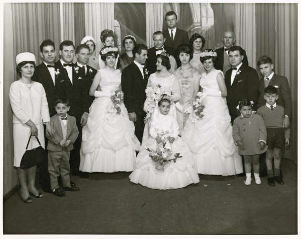 Photograph, Stamatoula and George Pavlakis with their extended wedding party