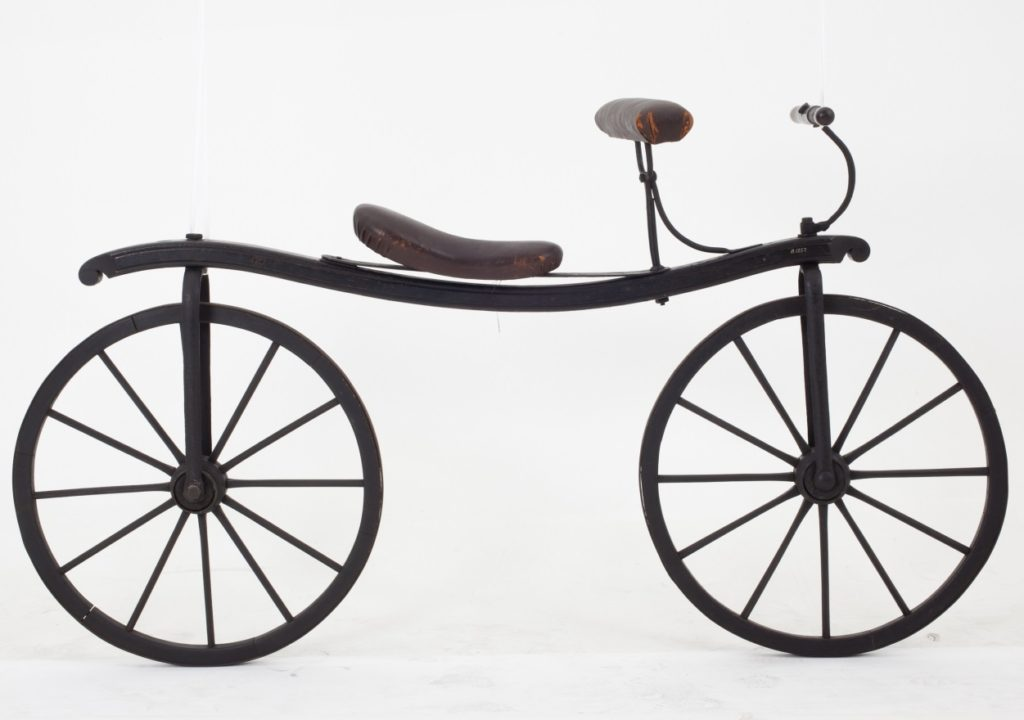 Reproduction of a Draisine bicycle or 'hobby horse'