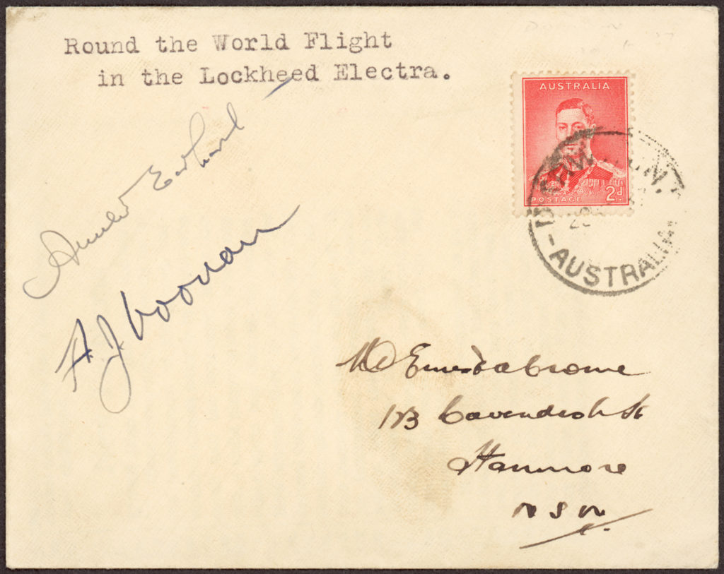 Detail of 'Round the World in the Lockheed Electra' envelope