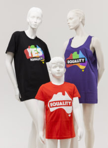 Mannequins wearing Equality YES shirts