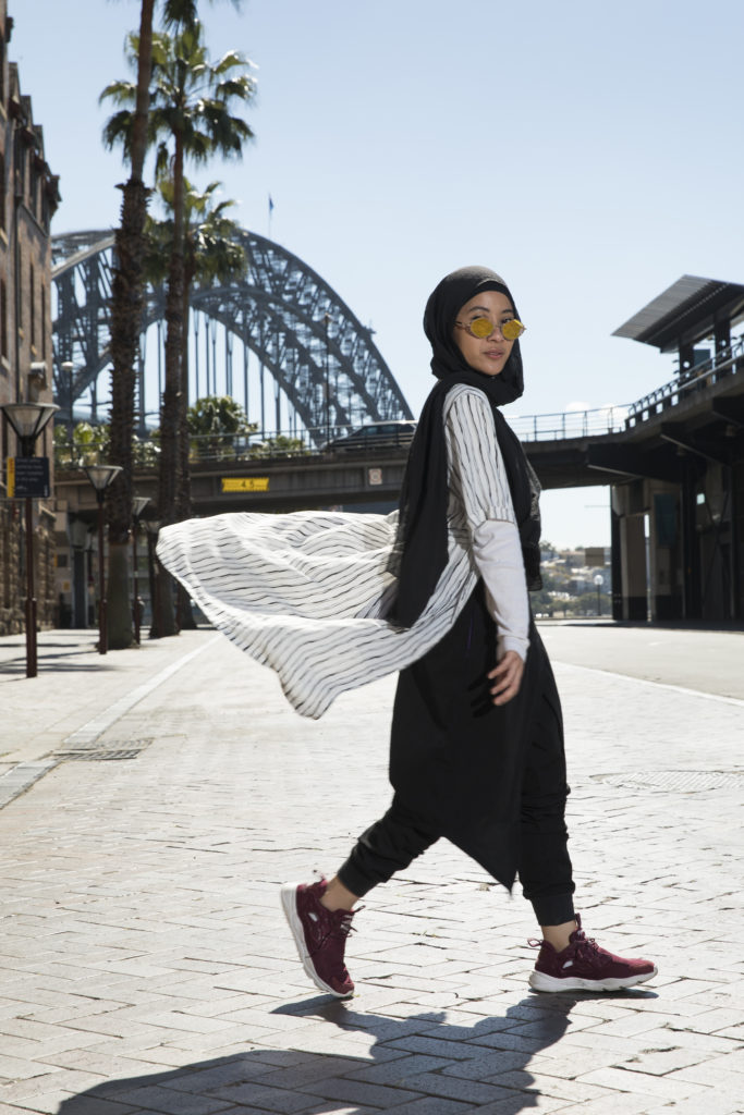Delina Darusman-Gala in front of Sydney Harbor Bridge