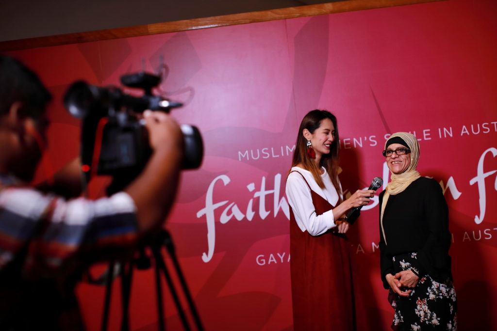 Aheda Zanetti being interviewed during the media preview for the Faith Fashion Fusion