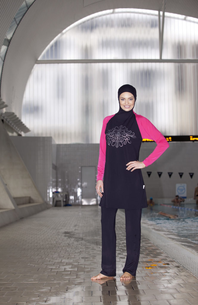 Model wears Swimsuit, 'slim-fit' Burqini®,