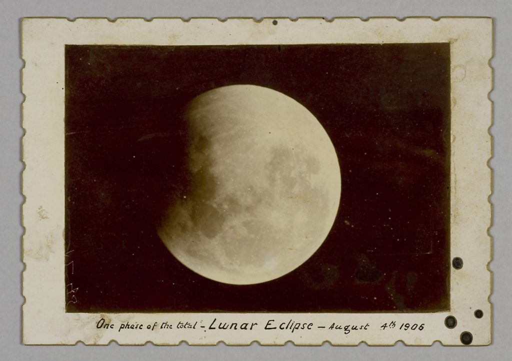 Photographic print of lunar eclipse taken on 4th August, 1906