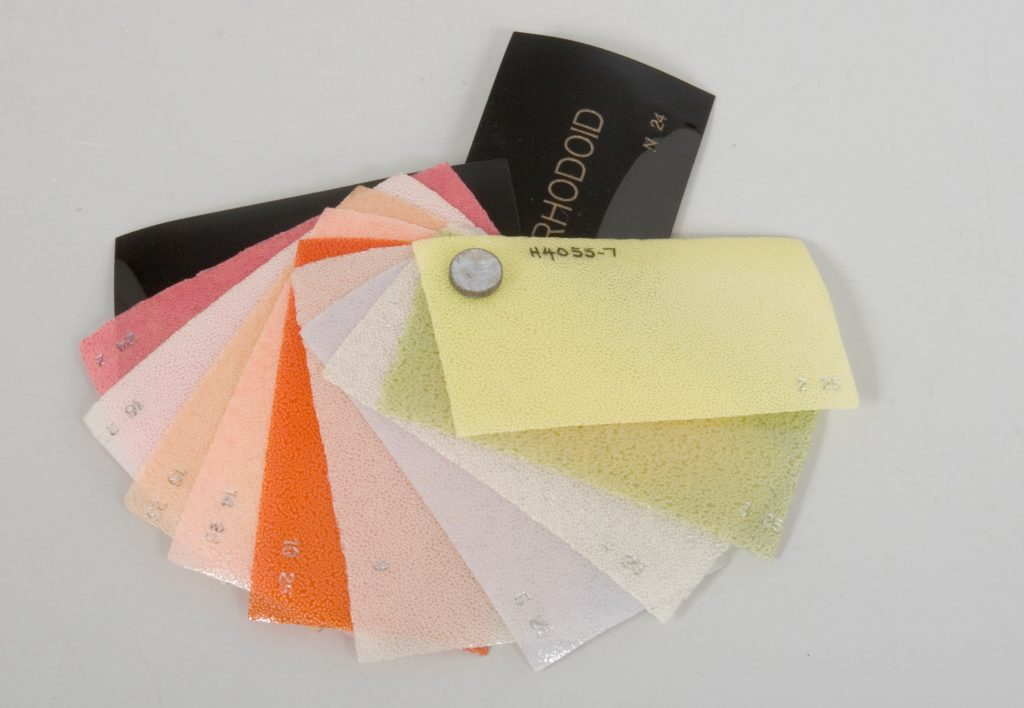 Plastic sample swatches, 'Rhodoid'