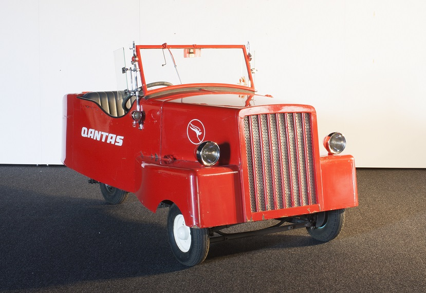 The quirky little home-made electric car made in Canberra in 1943 by Sir Roland Wilson at the height of WWII petrol rationing. After Sir Roland became chairman of QANTAS in 1966 the car was given to the apprentice training school where in 1974 it was overhauled and received its present QANTAS livery. MAAS collection B2339. Image: Sotha Bourn, Museum of Applied Arts and Sciences.