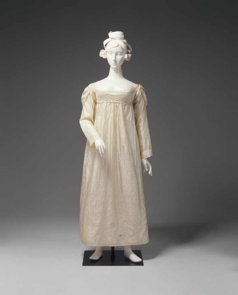 Silk damask wedding dress worn by Ann Marsden