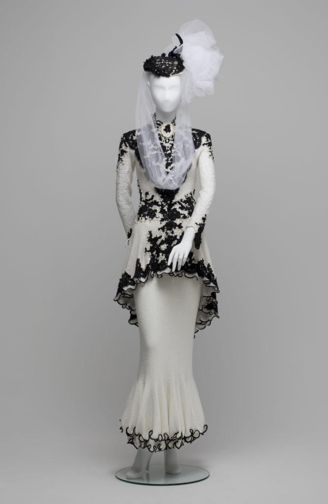 Wedding dress and hat worn by Claudia Chan Shaw