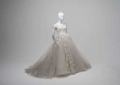 Wedding dress of nylon, lace and seed pearls, made by Bonwit Teller