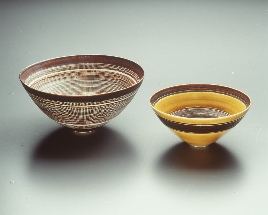 Porcelain bowls, made by Lucie Rie