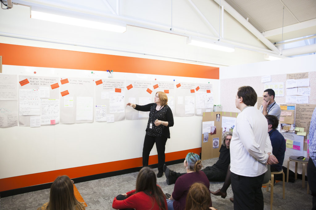 Head of Strategic Collections Judy Coombes presents ideas as part of the MAAS Next design